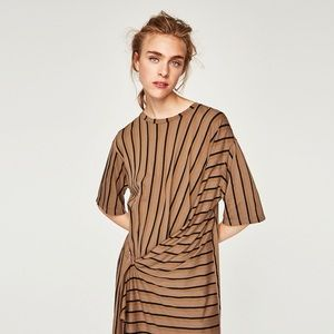 Striped Dress with Buckle Detail